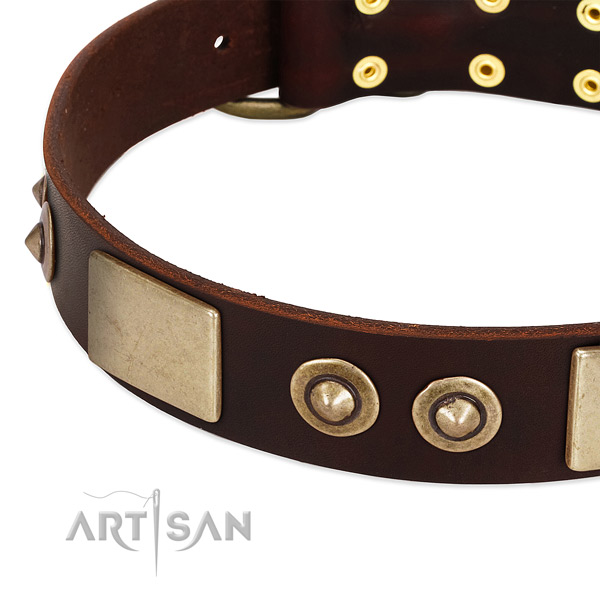 Rust resistant hardware on full grain natural leather dog collar for your pet