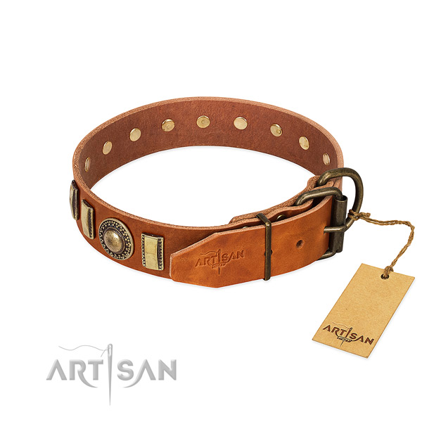 Fashionable full grain genuine leather dog collar with strong D-ring