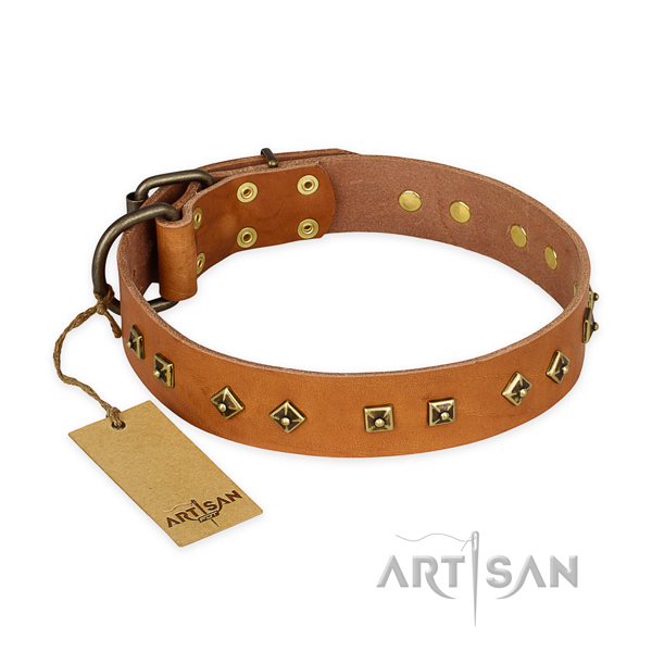 Easy wearing full grain genuine leather dog collar with corrosion proof hardware