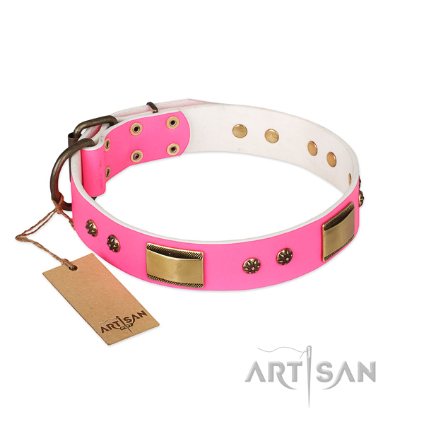 Easy to adjust natural genuine leather collar for your canine