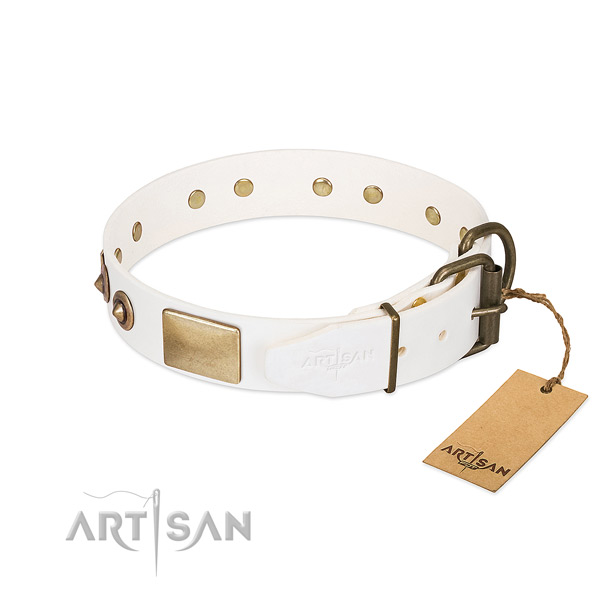 Strong hardware on full grain genuine leather dog collar for your dog