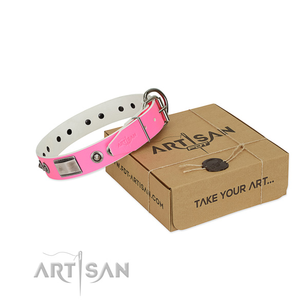 Stylish genuine leather collar with decorations for your canine