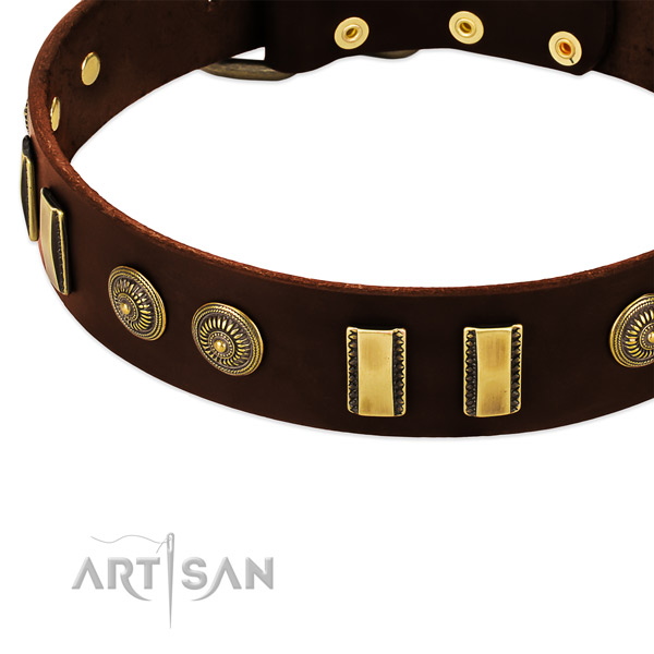 Reliable hardware on full grain leather dog collar for your pet