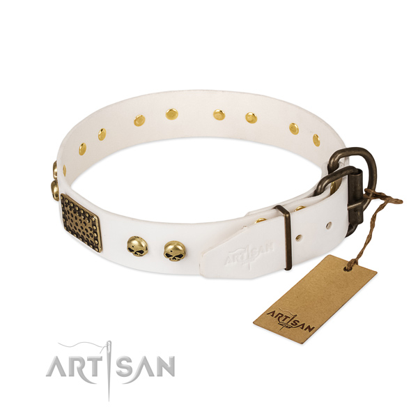 Easy to adjust genuine leather dog collar for basic training your doggie
