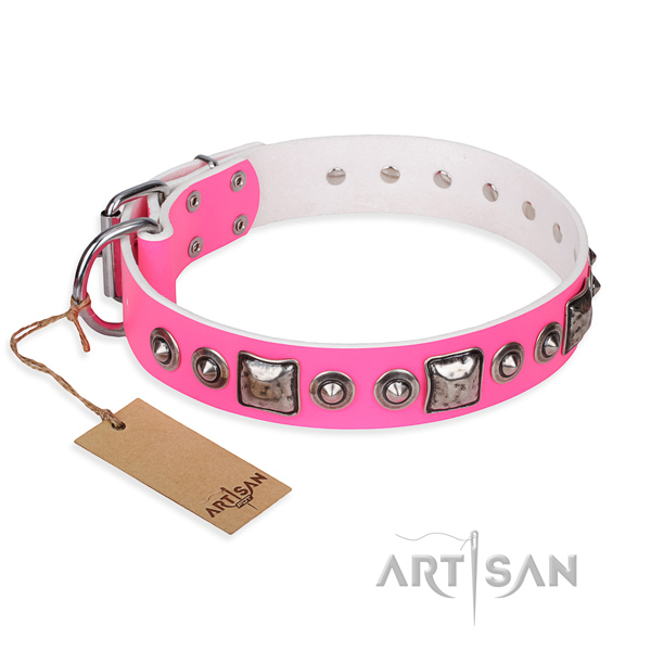 Genuine leather dog collar made of quality material with corrosion resistant D-ring
