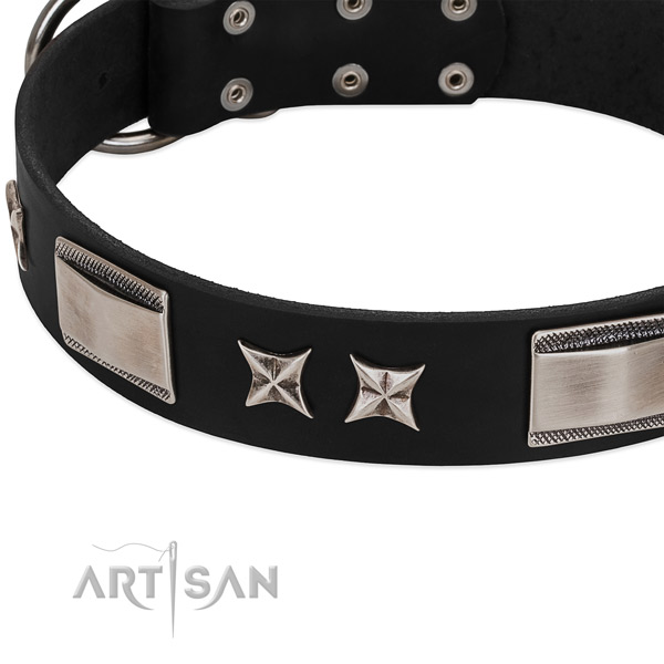 Gentle to touch leather dog collar with strong hardware