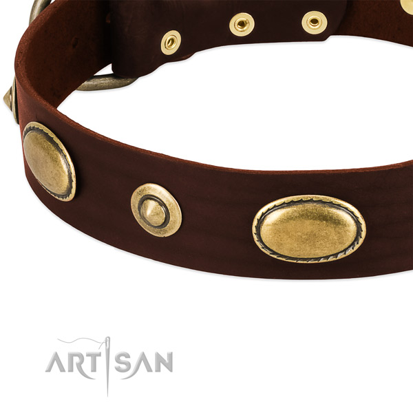 Rust resistant hardware on full grain genuine leather dog collar for your canine