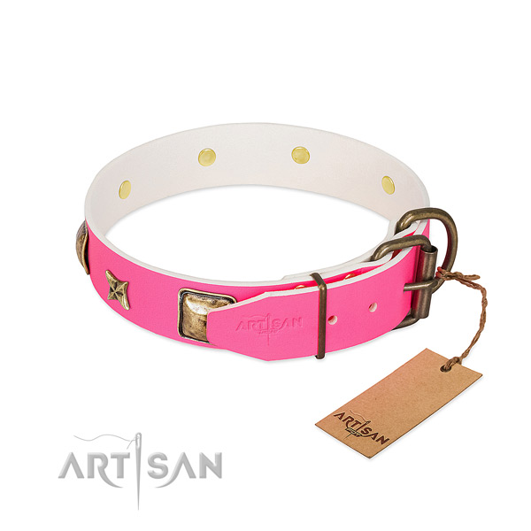 Rust resistant hardware on natural genuine leather collar for stylish walking your doggie