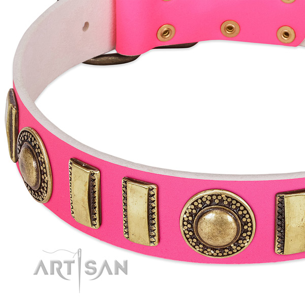 Top rate full grain genuine leather dog collar for your stylish doggie