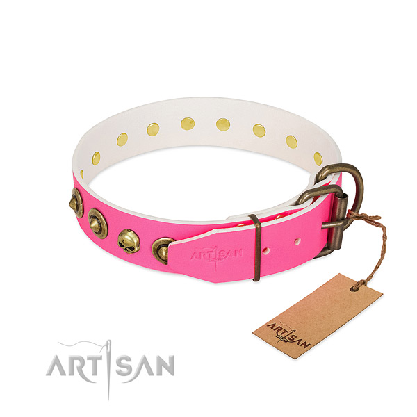 Full grain genuine leather collar with incredible studs for your doggie