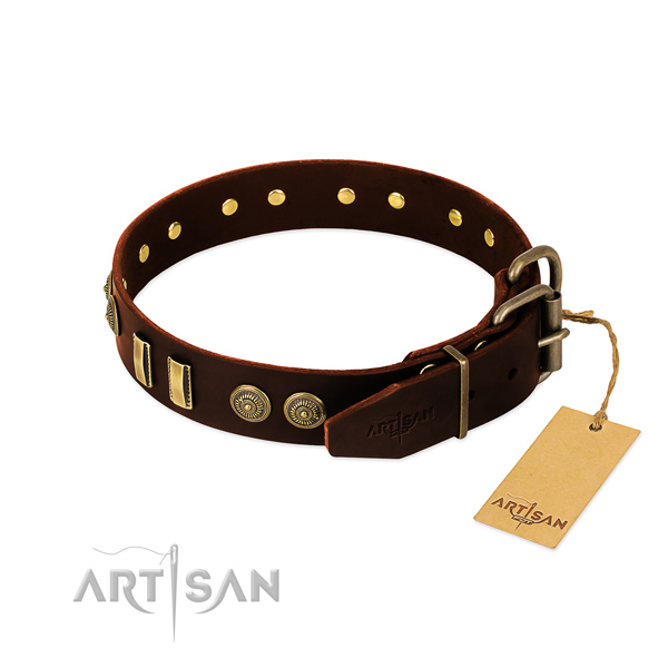 Corrosion proof traditional buckle on natural leather dog collar for your pet