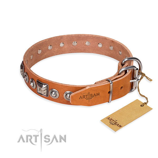 Strong natural genuine leather dog collar crafted for daily use