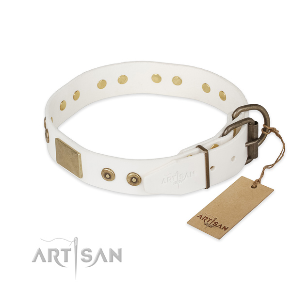 Full grain leather dog collar with corrosion proof traditional buckle and embellishments