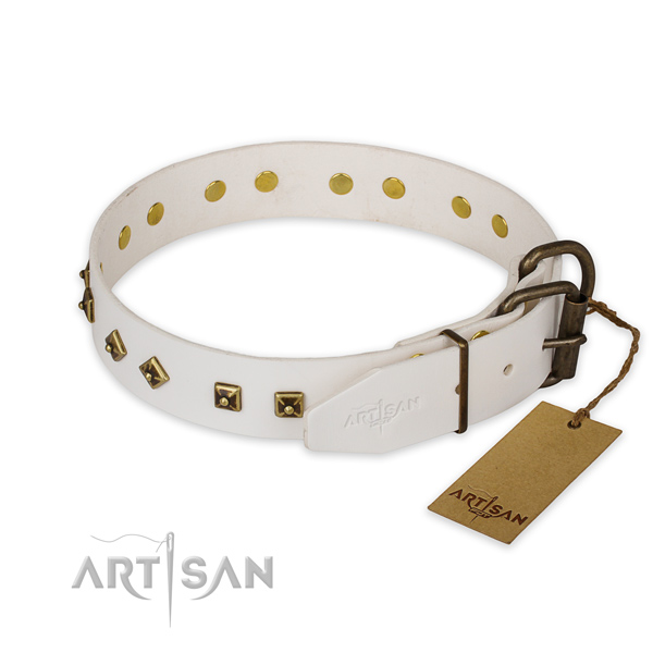 Corrosion proof D-ring on full grain natural leather collar for fancy walking your doggie