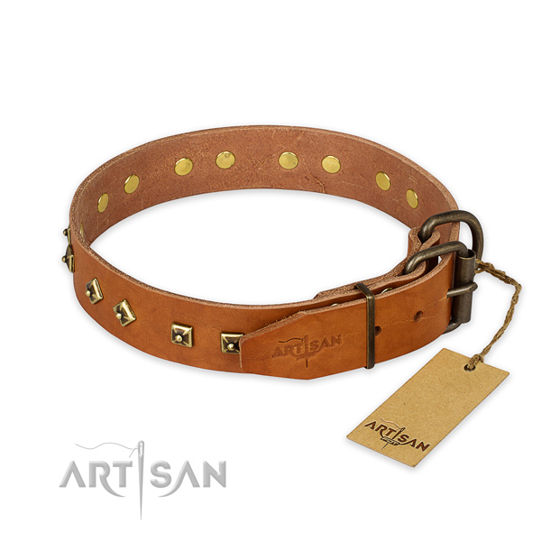 Rust-proof hardware on genuine leather collar for daily walking your canine