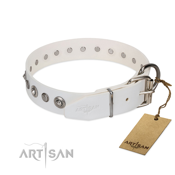 Finest quality full grain leather dog collar with inimitable embellishments