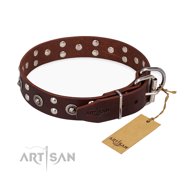 Rust-proof fittings on full grain natural leather collar for your attractive pet