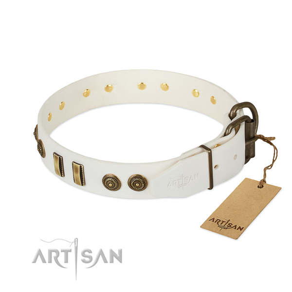 Rust resistant D-ring on full grain genuine leather dog collar for your pet