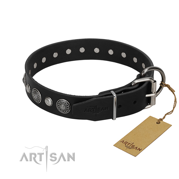 High quality genuine leather dog collar with inimitable decorations