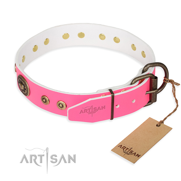 Natural genuine leather dog collar made of flexible material with reliable decorations