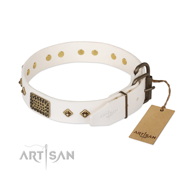 Genuine leather dog collar with strong traditional buckle and adornments