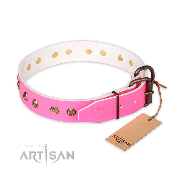 Strong fittings on leather collar for your stylish four-legged friend