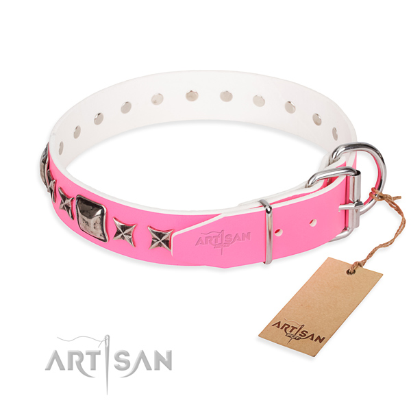 Reliable embellished dog collar of genuine leather