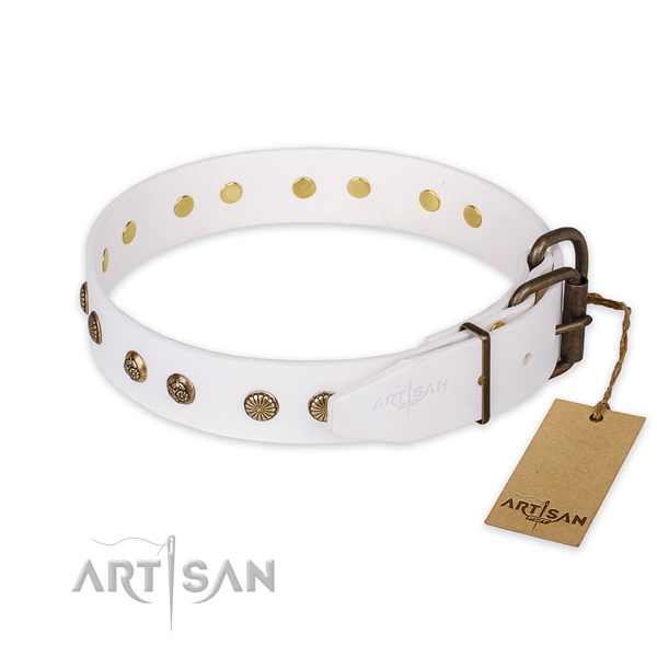 Rust resistant traditional buckle on full grain genuine leather collar for your impressive doggie
