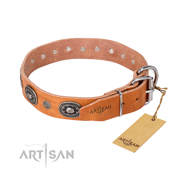 Reliable full grain genuine leather dog collar handcrafted for comfy wearing