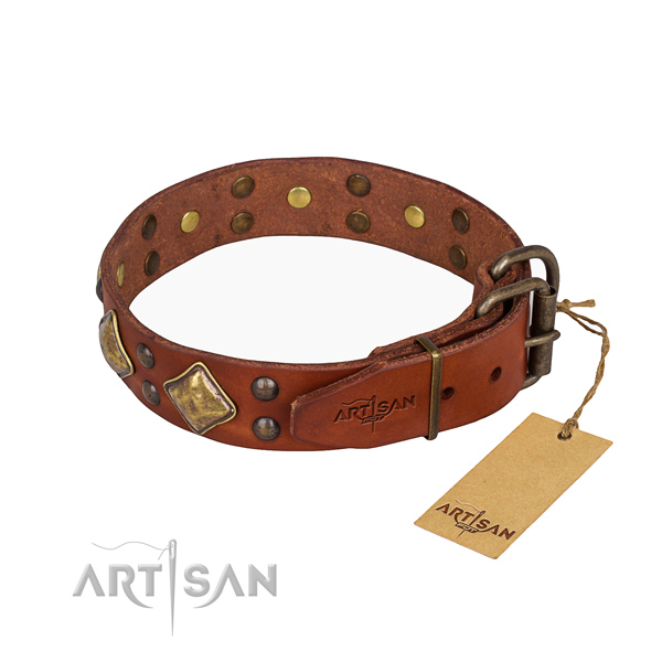 Genuine leather dog collar with unique rust resistant decorations