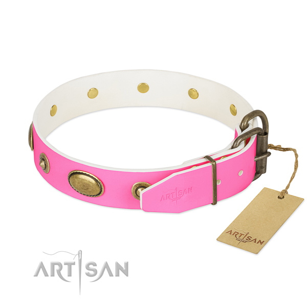 Rust resistant D-ring on full grain genuine leather dog collar for your four-legged friend