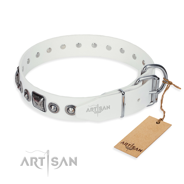 Top notch genuine leather dog collar handmade for comfy wearing
