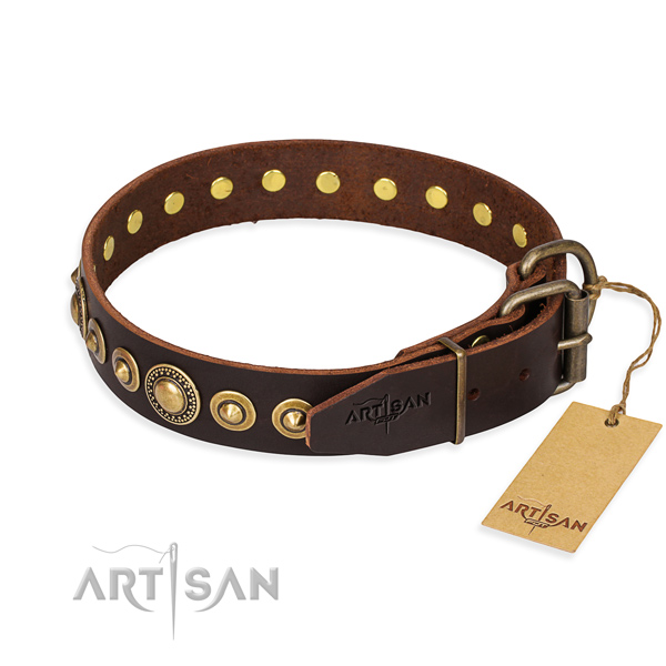 Soft to touch natural genuine leather dog collar handcrafted for handy use