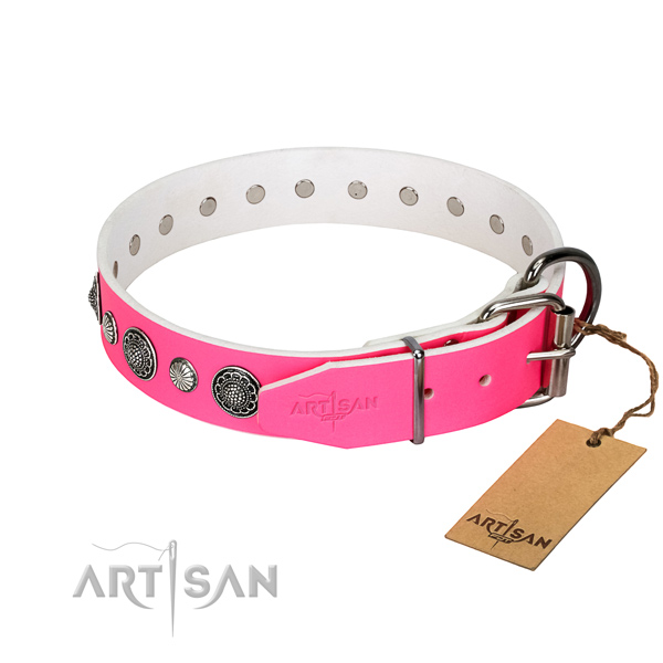 Durable natural leather dog collar with rust resistant buckle