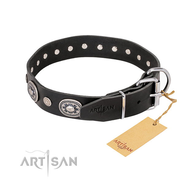 Durable leather dog collar handcrafted for daily walking