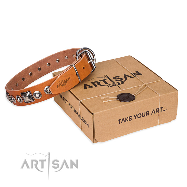 Natural genuine leather dog collar made of top rate material with strong hardware