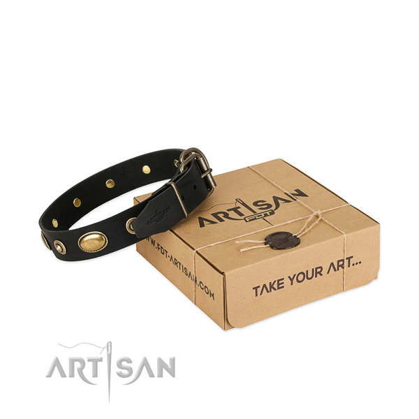 Rust resistant hardware on full grain natural leather dog collar for your four-legged friend