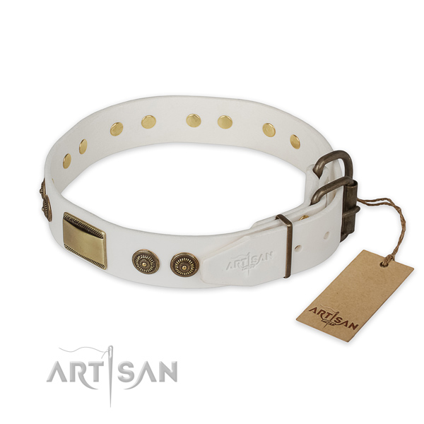 Corrosion resistant buckle on genuine leather collar for fancy walking your doggie
