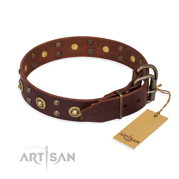 Corrosion resistant hardware on leather collar for your attractive doggie