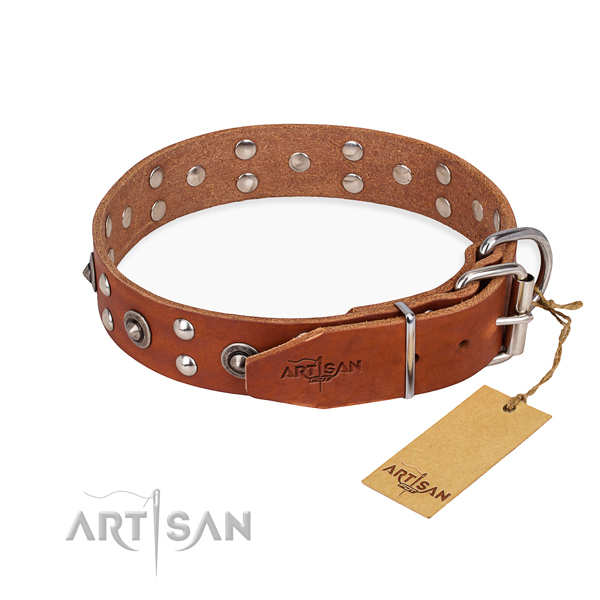 Rust-proof buckle on full grain genuine leather collar for your handsome doggie