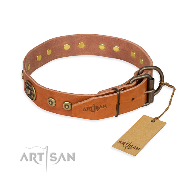 Genuine leather dog collar made of high quality material with rust resistant studs