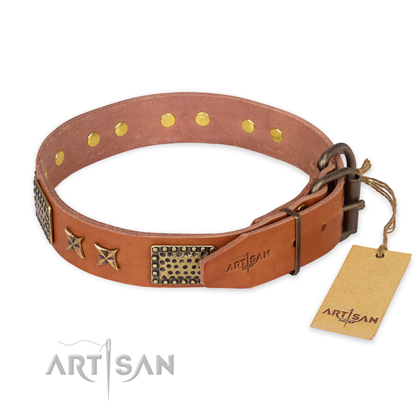 Corrosion proof D-ring on full grain genuine leather collar for your handsome dog