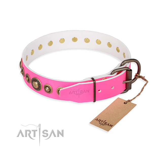 Flexible leather dog collar handmade for basic training