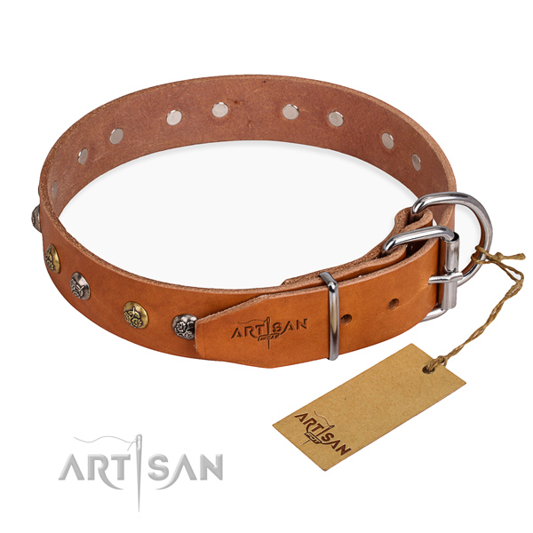 Full grain genuine leather dog collar with extraordinary corrosion resistant adornments