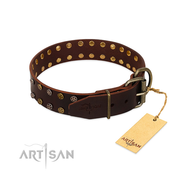 Handy use full grain natural leather dog collar with stunning embellishments