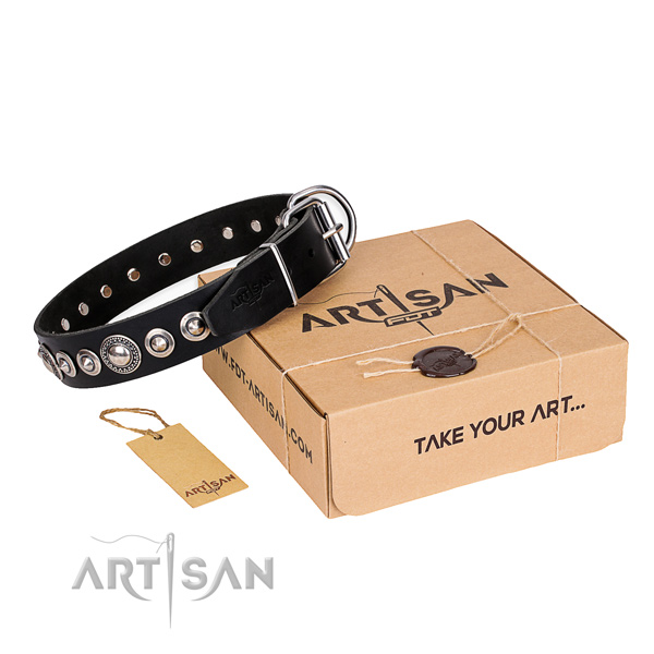 Fine quality full grain leather dog collar