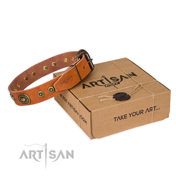 Natural genuine leather dog collar made of high quality material with rust-proof hardware
