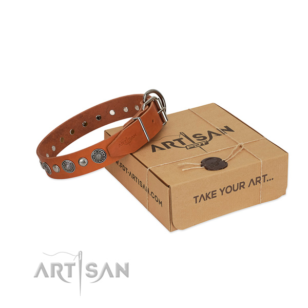 Full grain leather collar with rust-proof D-ring for your beautiful four-legged friend