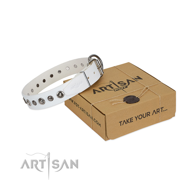 Reliable natural leather dog collar with inimitable adornments