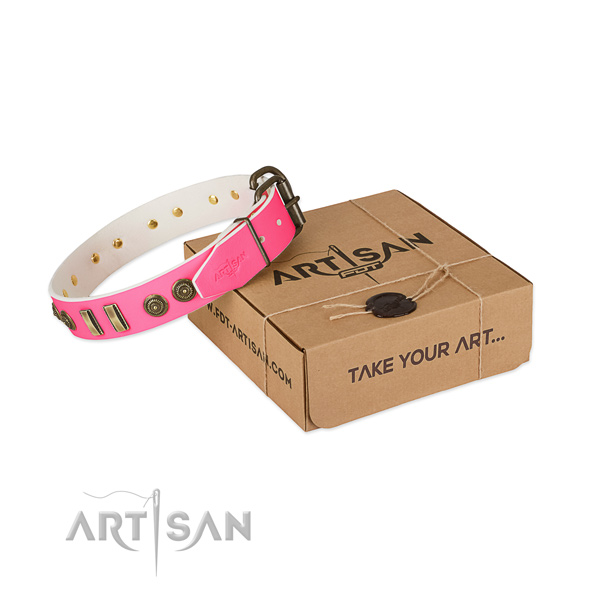 Reliable hardware on full grain natural leather dog collar for your doggie